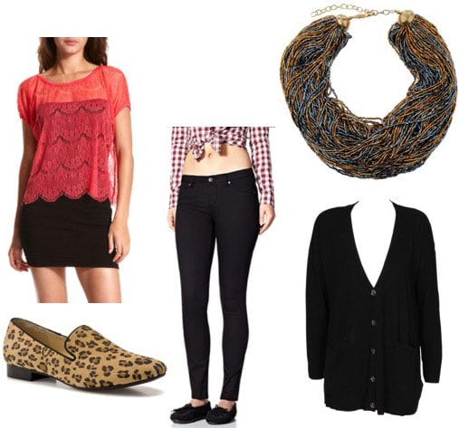 Charlotte Russe red top, worn with skinny jeans, a black cardigan, leopard flats and a statement necklace