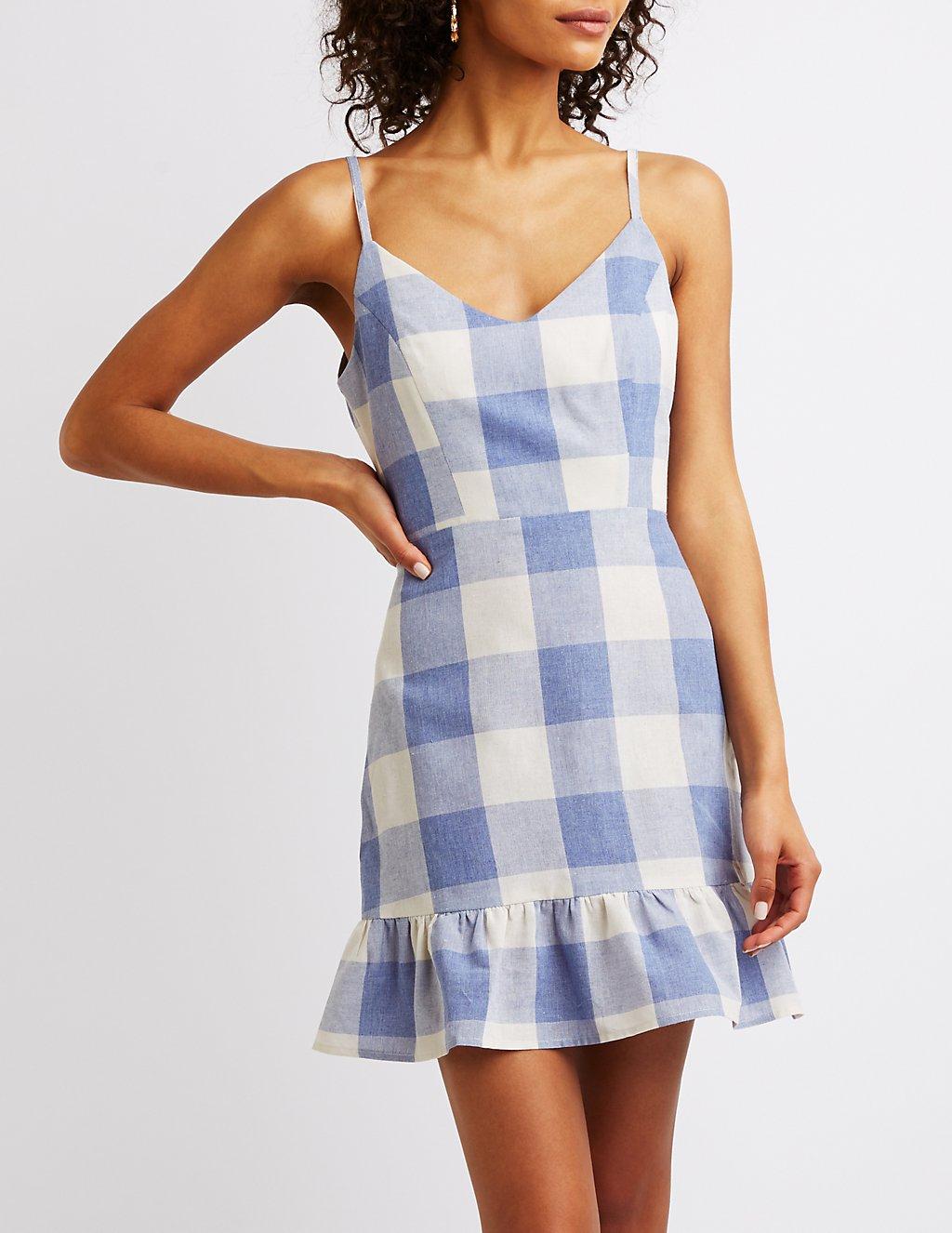 Charlotte Russe Gingham Print Ruffle-Trim Dress