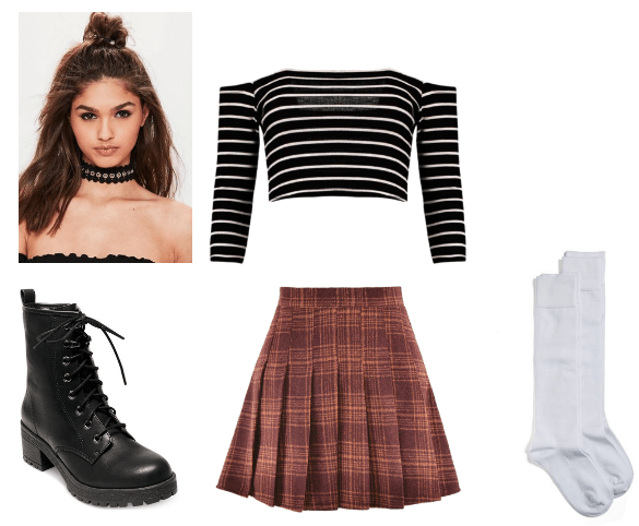 Cher and Lindsay inspired preppy-grunge look with plaid and stripes