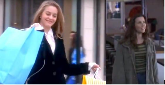 Cher and Lindsay Weir: Cher Horowitz wearing a black blazer while shopping and Lindsay Weir wearing an army jacket and green striped shirt