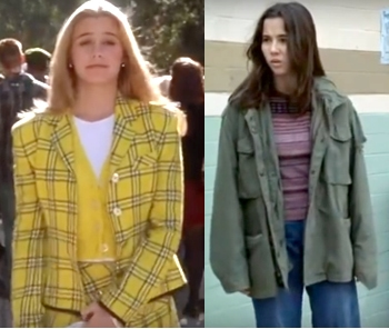 Cher Horowitz in a yellow plaid outfit and Lindsay Weir in a green army jacket and striped shirt