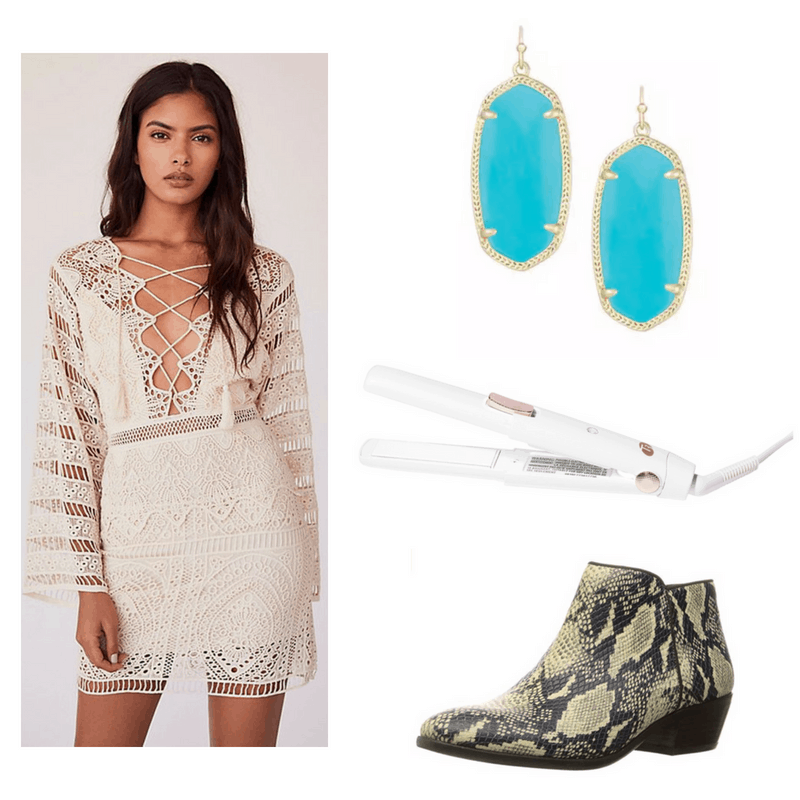Cher style: Outfit inspired by Cher in the 1970s with lace batwing dress, snakeskin boots, turquoise earrings, and flat iron