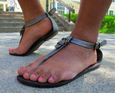 College fashionista Cherry's trendy sandals