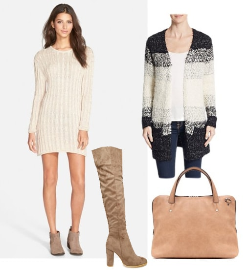 Outfit inspired by Chiara Ferragni - sweater dress, cardigan, over the knee boots, satchel