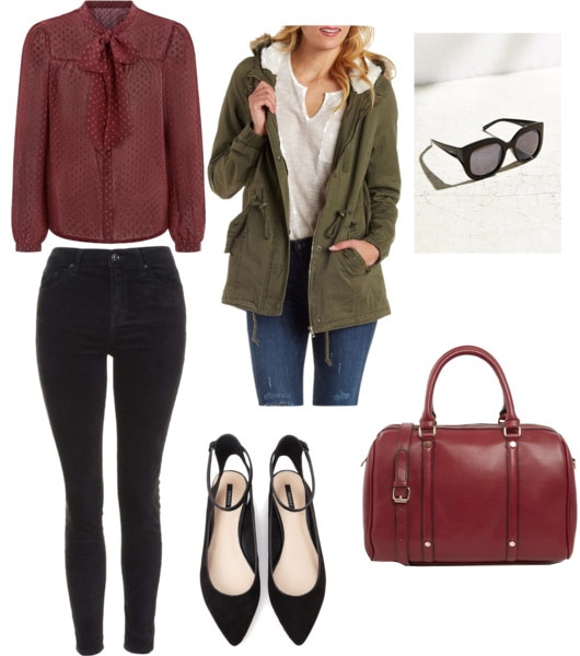Outfit for a casual Friday - black jeans, pussybow blouse, bowler bag, anorak, flats