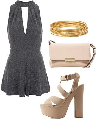 Chiara Ferragni outfit 3 - romper, nude bag, platforms, bangles