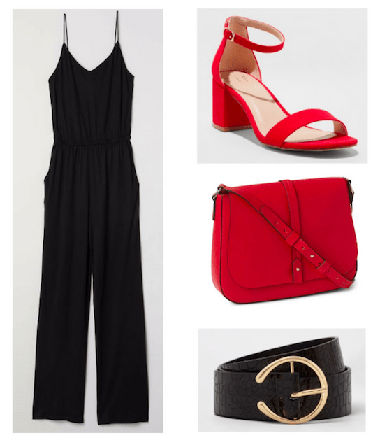 Photo set including a black jumpsuit, red block heels, a red crossbody purse, and a black belt with a gold buckle.
