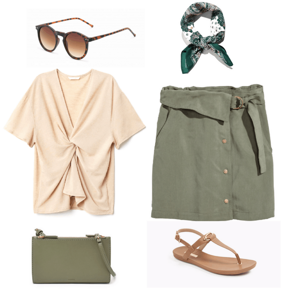 Chic and earthy summer outfit: Olive green wrap skirt, neutral beige tie-front top, tortoiseshell sunglasses, olive mini purse, patterned head scarf, neutral brown t-strap sandals