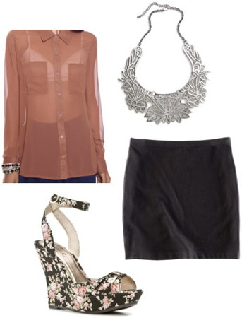 Outfit idea: Chiffon blouse worn with a black skirt and wedges