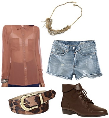 Outfit idea: Chiffon blouse worn with denim shorts