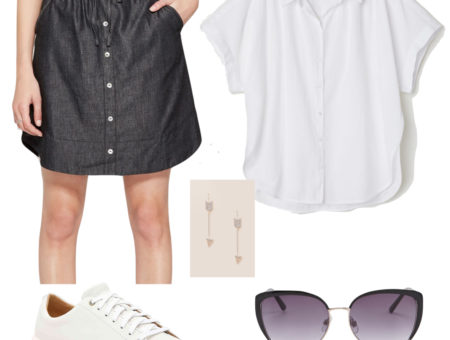 Chloe Grace Moretz Outfit: white short sleeve button-down shirt, dark denim button front mini skirt, silver arrow drop earrings, black sunglasses, and white low-top sneakers