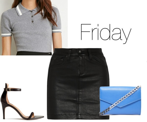 Chloe Moretz Friday outfit - blue clutch, black leather skirt, polo shirt, heels