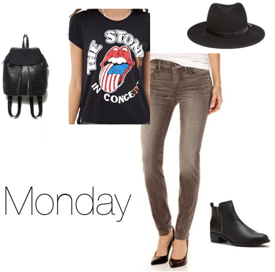 Chloe Moretz Monday outfit - gray jeans, tee shirt, backpack, ankle boots