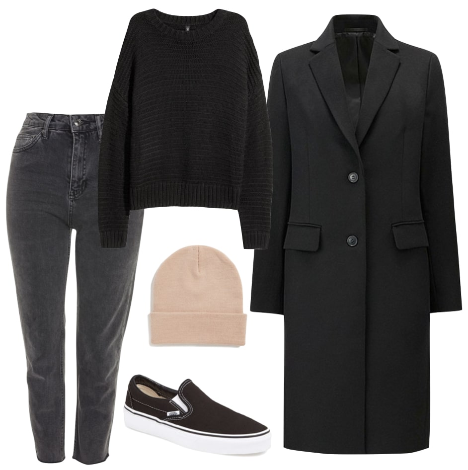 Chloe Moretz Outfit: gray straight leg jeans, black sweater, black long coat, blush colored beanie hat, and black slip on Vans sneakers