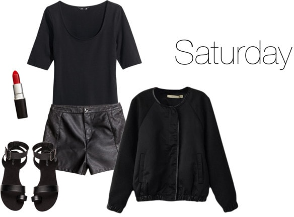 Chloe Moretz Saturday outfit - sweater, tee, leather shorts, sandals