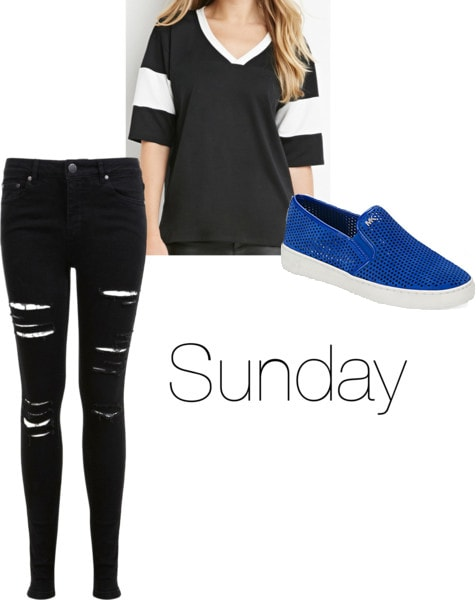 Chloe Moretz Sunday outfit - ripped jeans, black jersey, blue slip ons