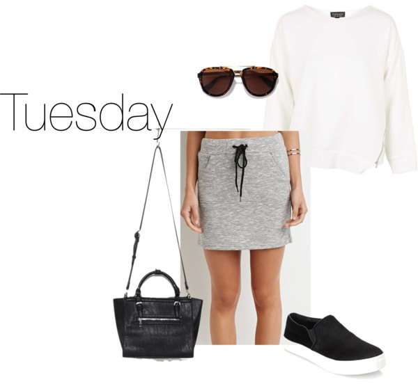 Chloe Moretz Tuesday outfit - sweatshirt, skirt, sunglasses, slip ons