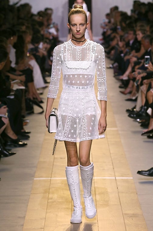 Christian Dior Spring 2017 runway look 1: White crochet cotton knit dress with white underwear and a white purse
