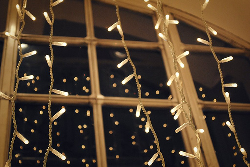 Christmas lights in a window