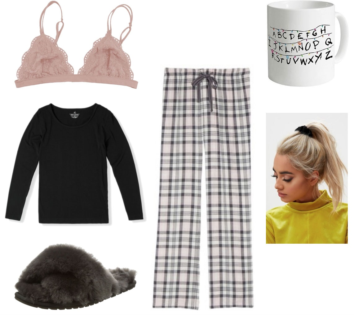 Christmas morning outfit with bralette, cozy thermal top, fluffy slippers, Stranger Things mug, plaid pajama pants, velvet scrunchie