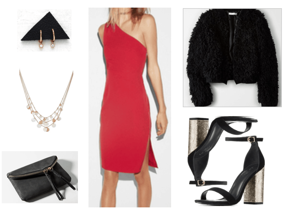 Red one-shoulder dress outfit for Christmas.