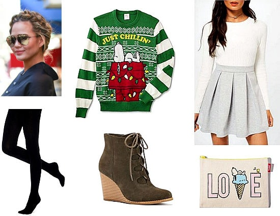 Christmas outfit idea: Snoopy Christmas sweater, gray mini skirt, black tights, lace-up wedge booties
