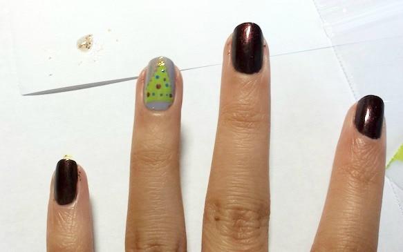 Christmas tree nail art step 5