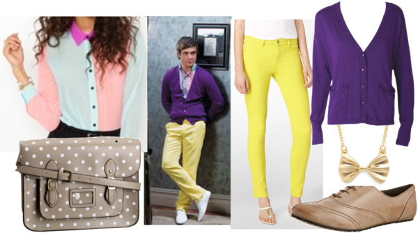 Chuck bass look 2 with yellow pants, pastel blouse, purple cardigan, bow necklace, polka dot bag, and tan brogues