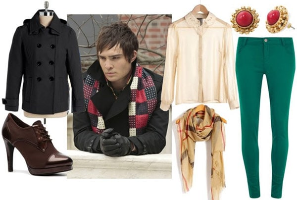 Outfit inspired by Chuck Bass's pea coat and checked red and white scarf: black peacoat, green skinny pants, beige blouse, plaid scarf, brown oxford pumps, and red stud earrings