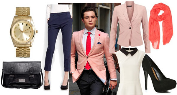 Chuck Bass-inspired outfit with pink blazer, white peplum blouse, navy chinos, coral scarf, black pumps, black satchel, and a gold watch