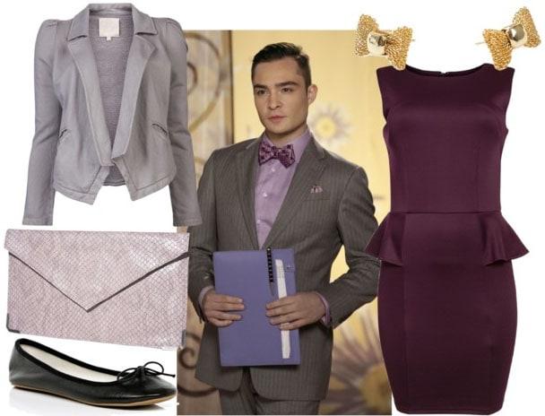 Chuck bass style with plum peplum dress gray blazer lavender clutch black flats and gold bow earrings
