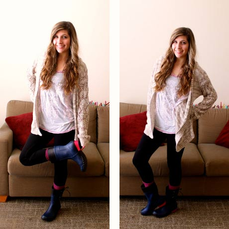 Cozy outfit for a rainy day - chunky cardigan, pink top, rain boots