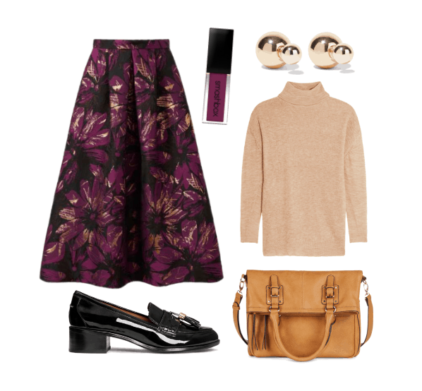 Work outfit idea with chunky loafers, midi skirt, and turtleneck sweater
