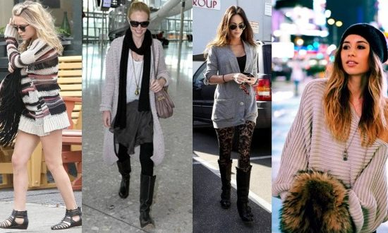 Celebs and a fashion blogger wearing chunky sweaters