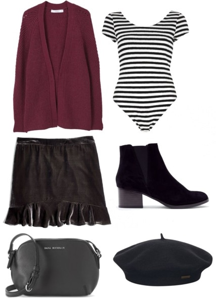 How to transition a chunky knit sweater from winter to spring: Outfit with maroon chunky knit sweater, striped bodysuit, black boots, a velvet skirt, a black leather crossbody bag, and a black beret.