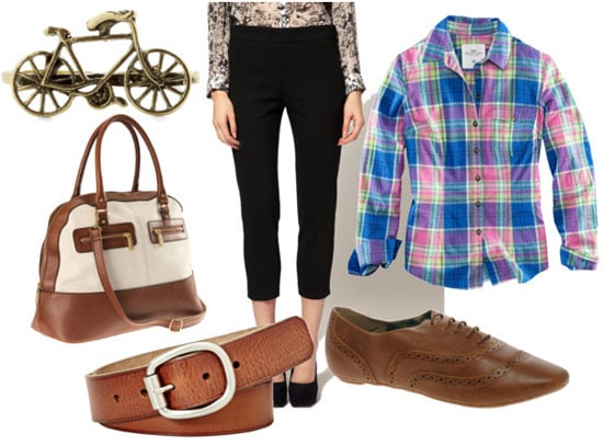 cigarette pants look for day with plaid shirt brown oxdfords brown belt bike ring and brown and white bag