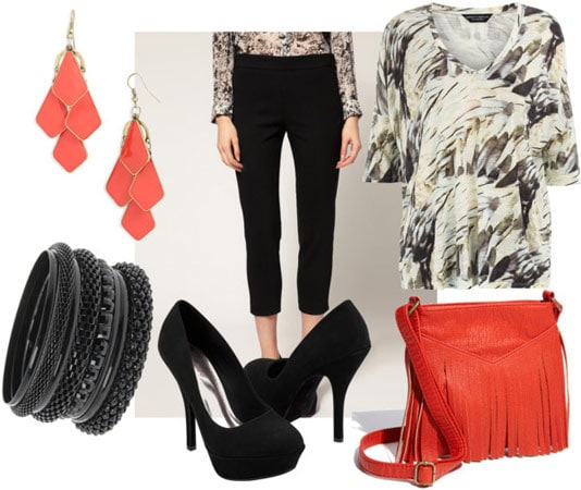 cigarette pants outfit for night with feather print top coral bag coral earrings black pumps black bangles