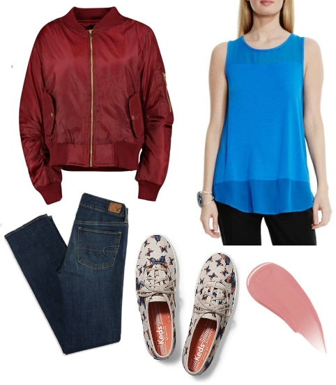 Outfit inspired by A Cinderella Story: Burgundy bomber jacket, blue top, jeans, butterfly print shoes