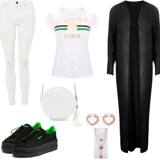 White circle bag with white denim jeans, white t-shirt, black duster, black and green fenty pumas, gold heart earrings, and gold necklace.