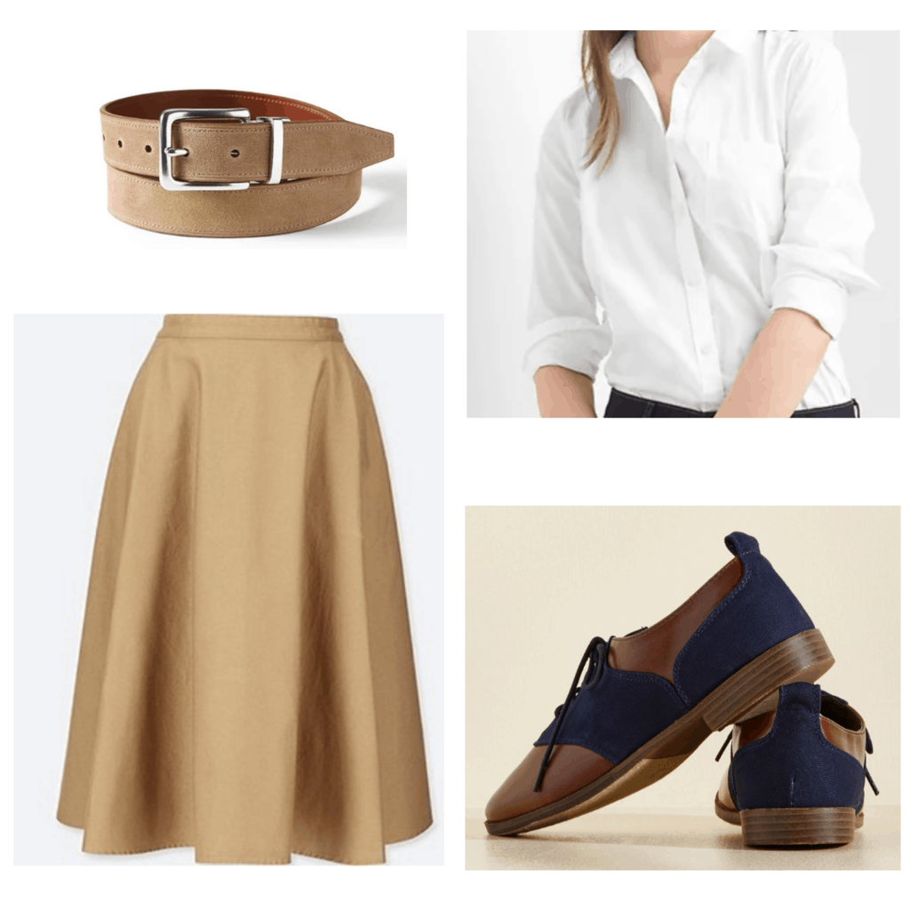 Khaki circle skirt with white blouse, than belt, and navy and brown oxfords