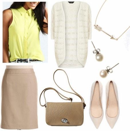 Citron blouse, tan skirt, cardigan