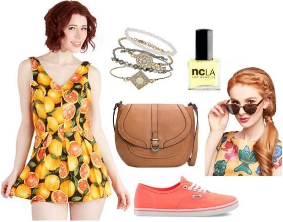 Citrus print romper, coral sneakers, crossbody bag