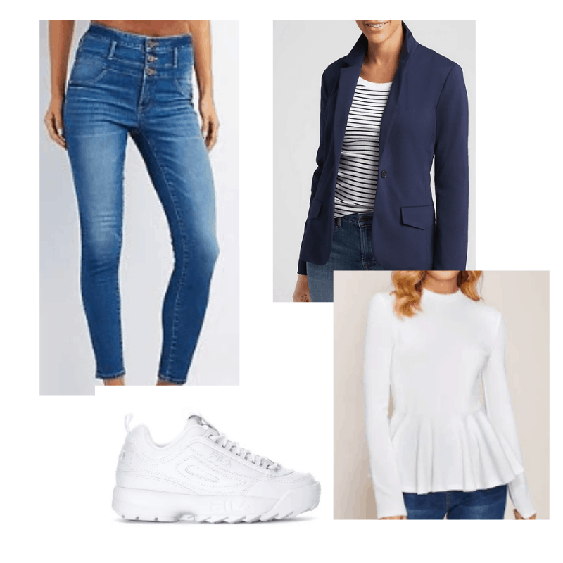Winter vacation outfit ideas: Outfit for the city with medium wash skinny jeans, a white ruffle top, navy blazer, dad sneakers