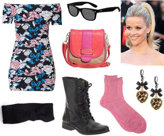 Clarissa Explains it All outfit 3: Floral off-shoulder body con dress, lace-up boots, wayfarers, neon cross-body bag, ponytail