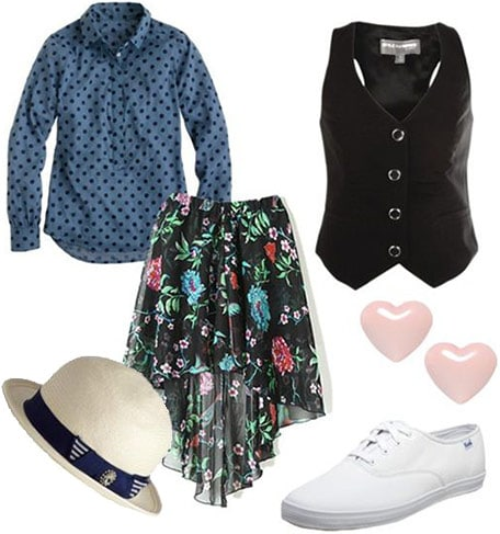Clarissa Explains it All outfit 2: Floral high-low skirt, polka dot shirt, vest, classic Keds, hat