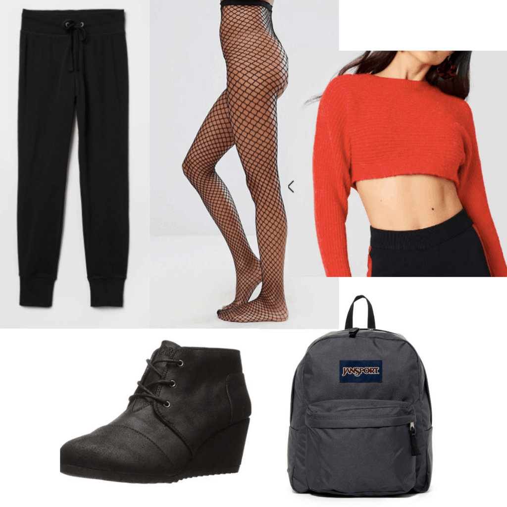 Fishnet tights outfit for class with red crop top, black joggers, wedge sneakers, and a backpack