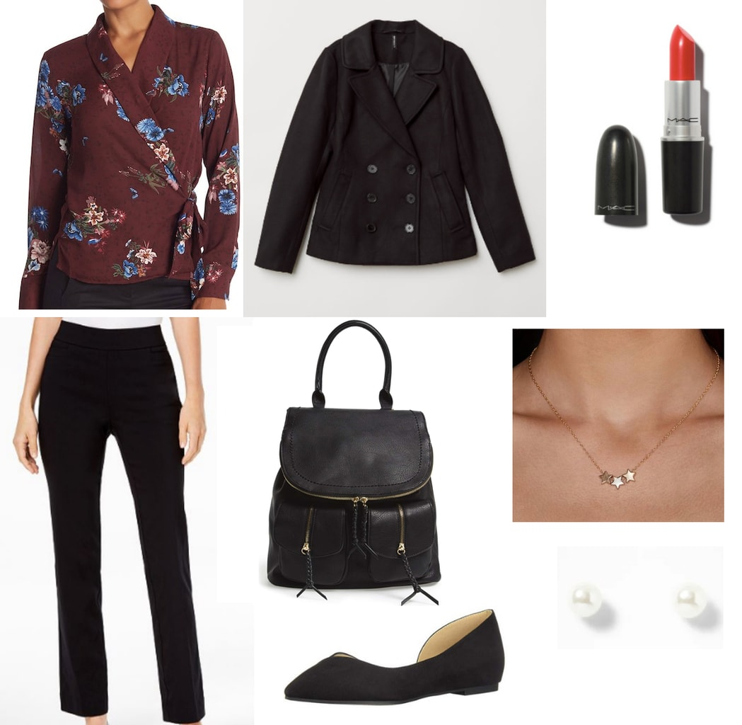 Class presentation outfit idea: Maroon wrap top, black blazer, dress pants, black leather backpack, simple earrings, red lipstick, black flats, pearl earrings