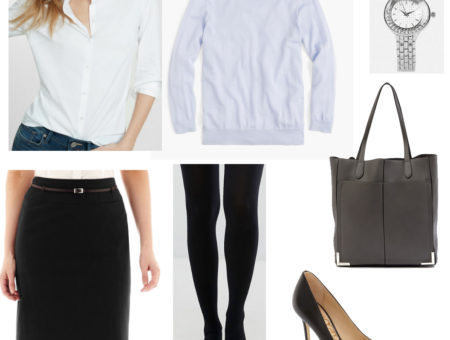 Class presentation outfit 2: White button down shirt, blue sweater, black pencil skirt, tights, silver watch, gray tote bag, black heels