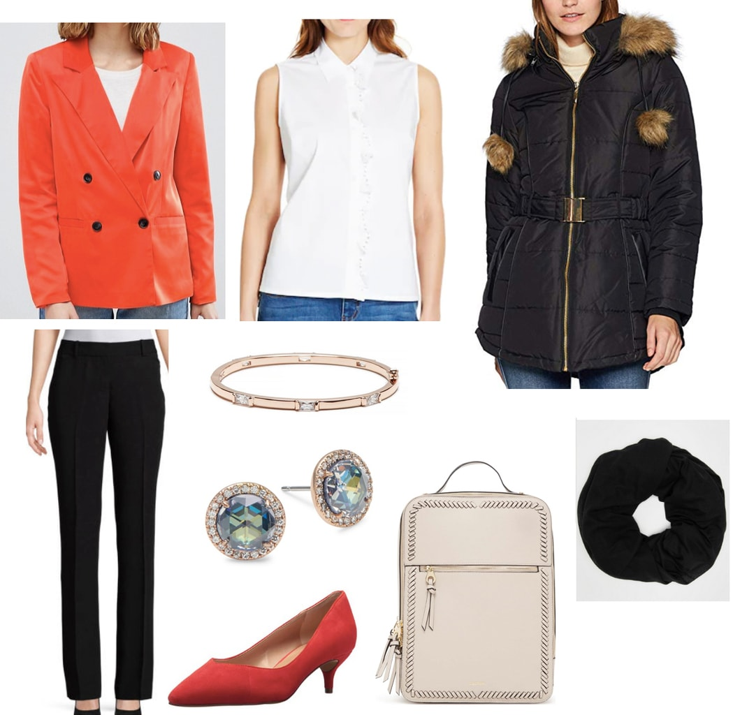 Class presentation outfit 3: White button down blouse, double breasted red blazer, black dress pants, parka, circle scarf, beige backpack, red heels, rose gold jewelry