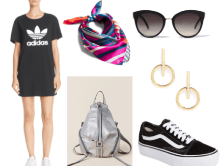 How to wear a t shirt dress during the day. Daytime outfit with an adidas t shirt dress with the signature trefoil logo. The look is completed with black sunglasses, gold earrings, silver back pack, multi color neck scarf, and skater sneakers.